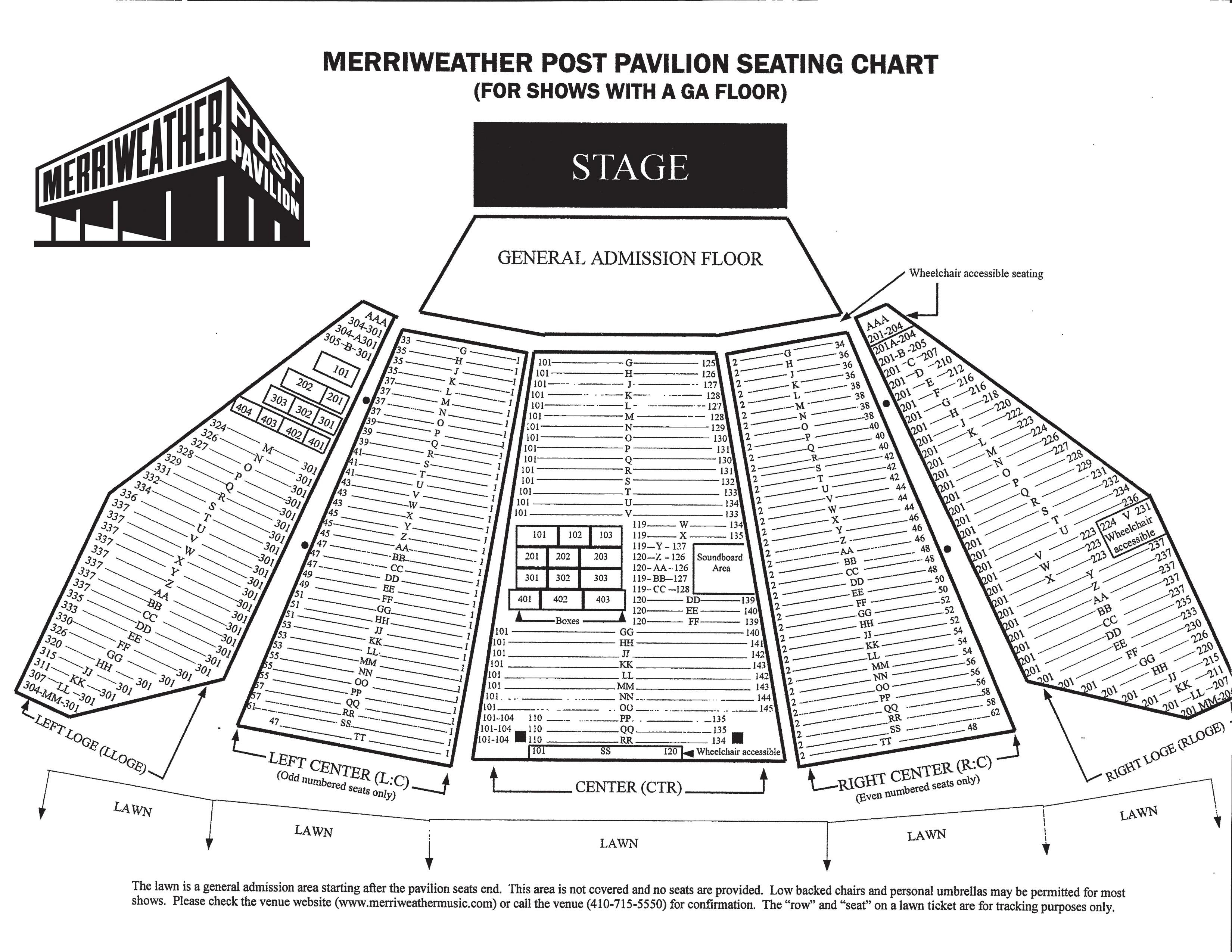 Merriweather Post Pavilion Seating Chart Merriweather